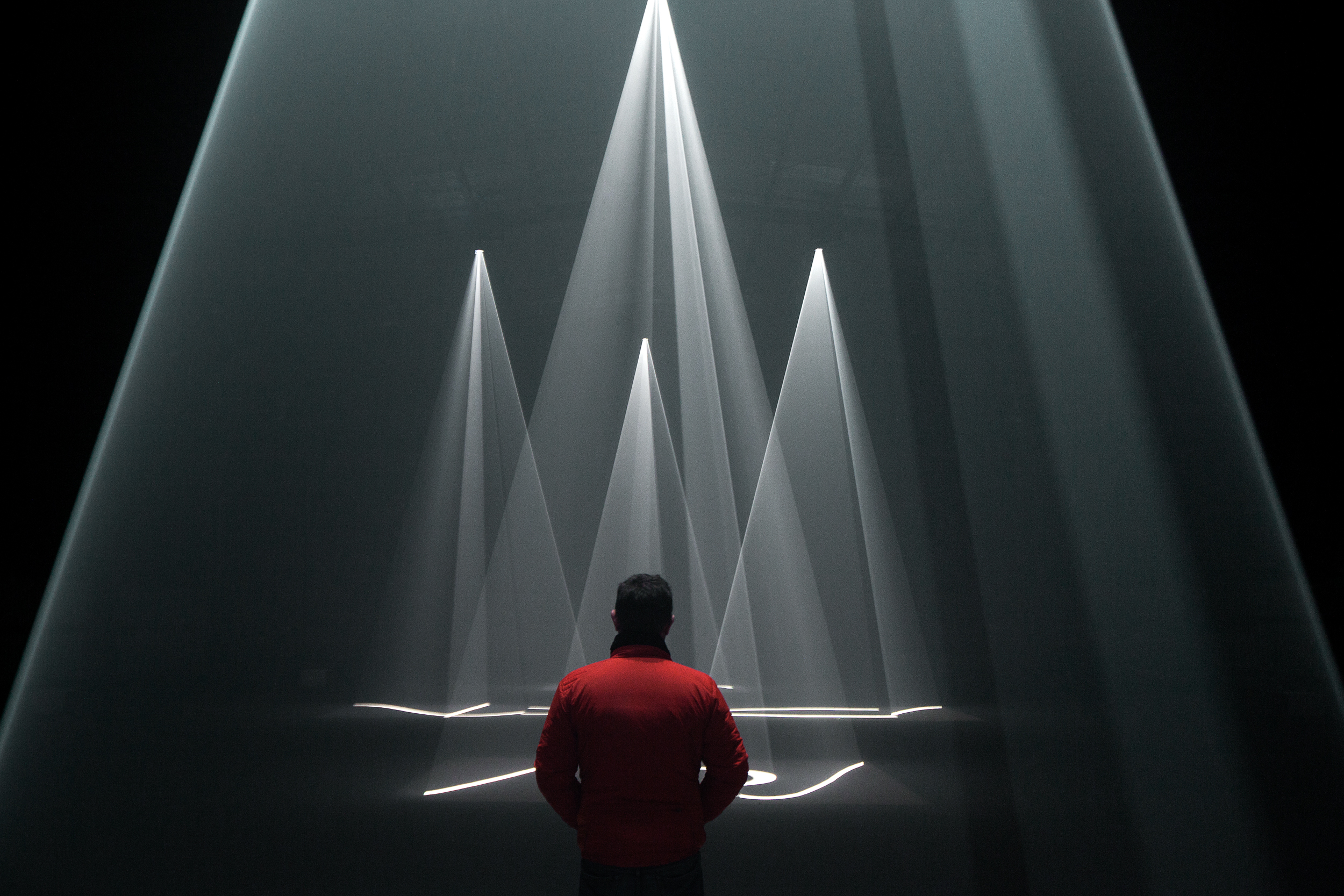 Solid Light Works  Anthony McCall Installation view, Dark Mofo 2015, Macquarie Point, Hobart, June 2015  © Anthony McCall