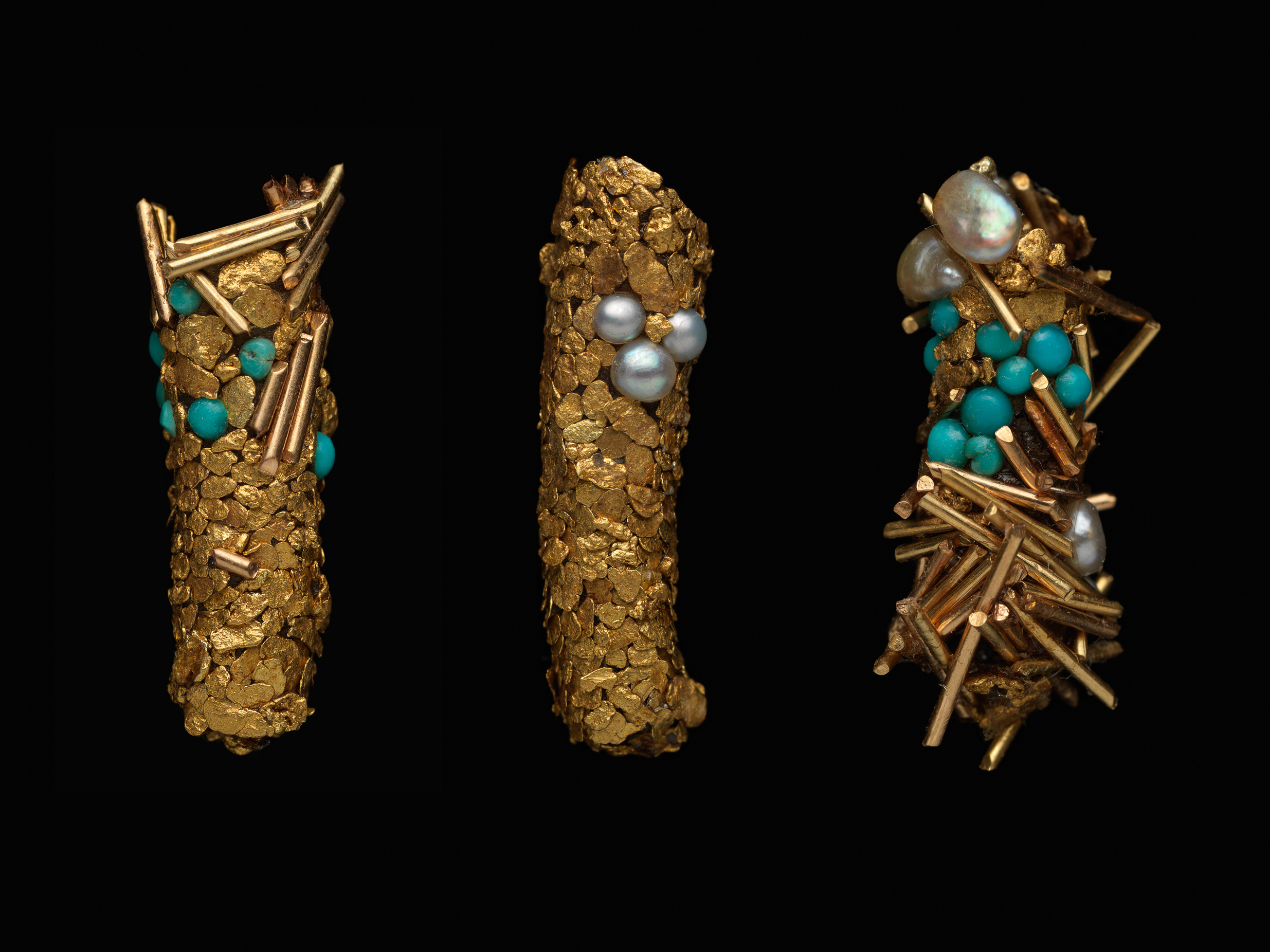 Étuis de Trichopteres (Caddisfly cases) 1980 - 2013  Hubert Duprat (Born 1957, Nérac, France; lives and works in southern France) Gold, pearls, turquoise