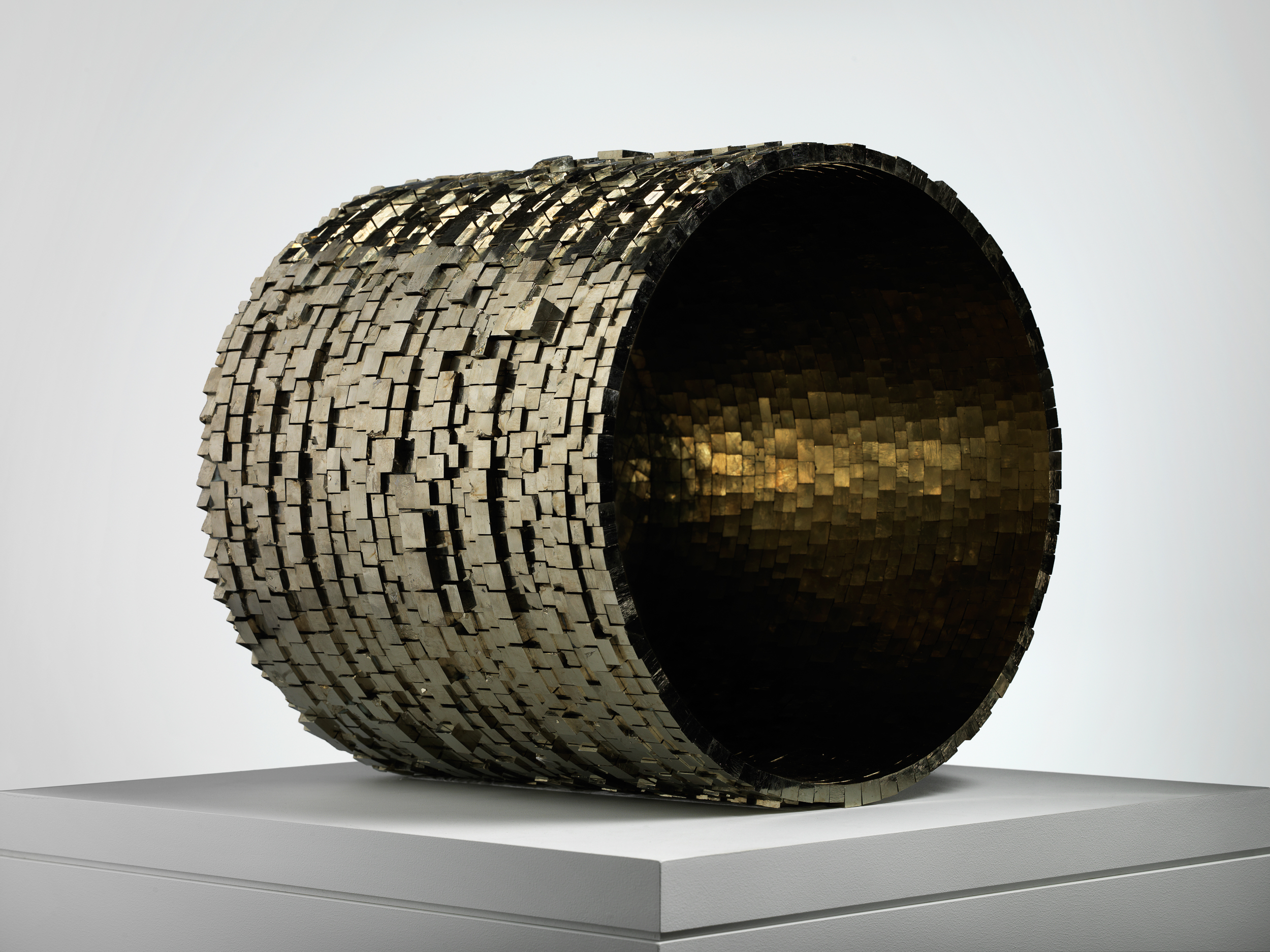 Sans titre (Untitled) 2007–12  Hubert Duprat (Born 1957, Nérac, France; lives and works in southern France) Pyrite crystal, glue  52 x 52 x 52 cm Courtesy of Art : Concept, Paris