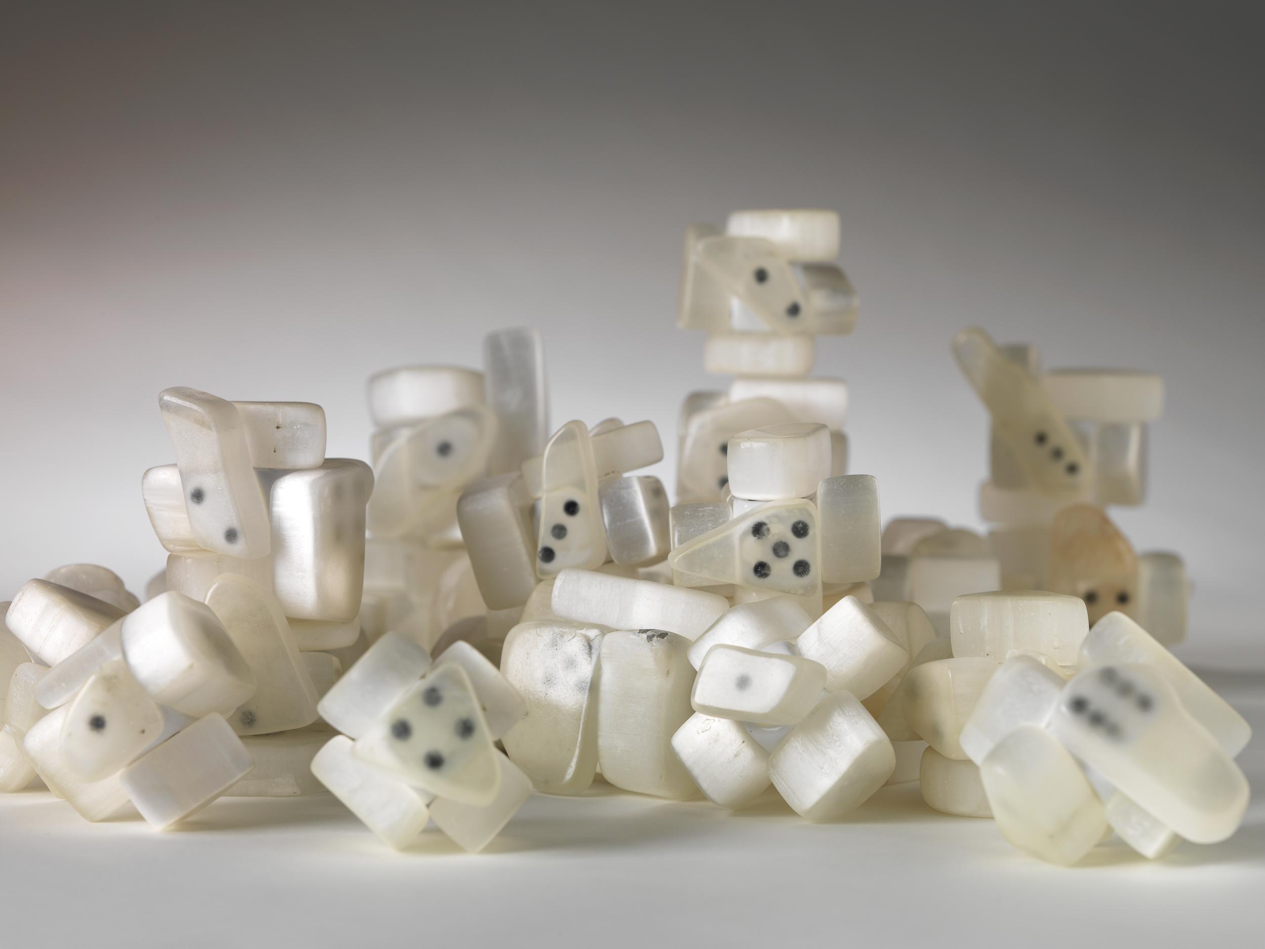 Untitled [dice] 2011  Hubert Duprat (Nérac, France, 1957) Ulexite, plastic dice, glue