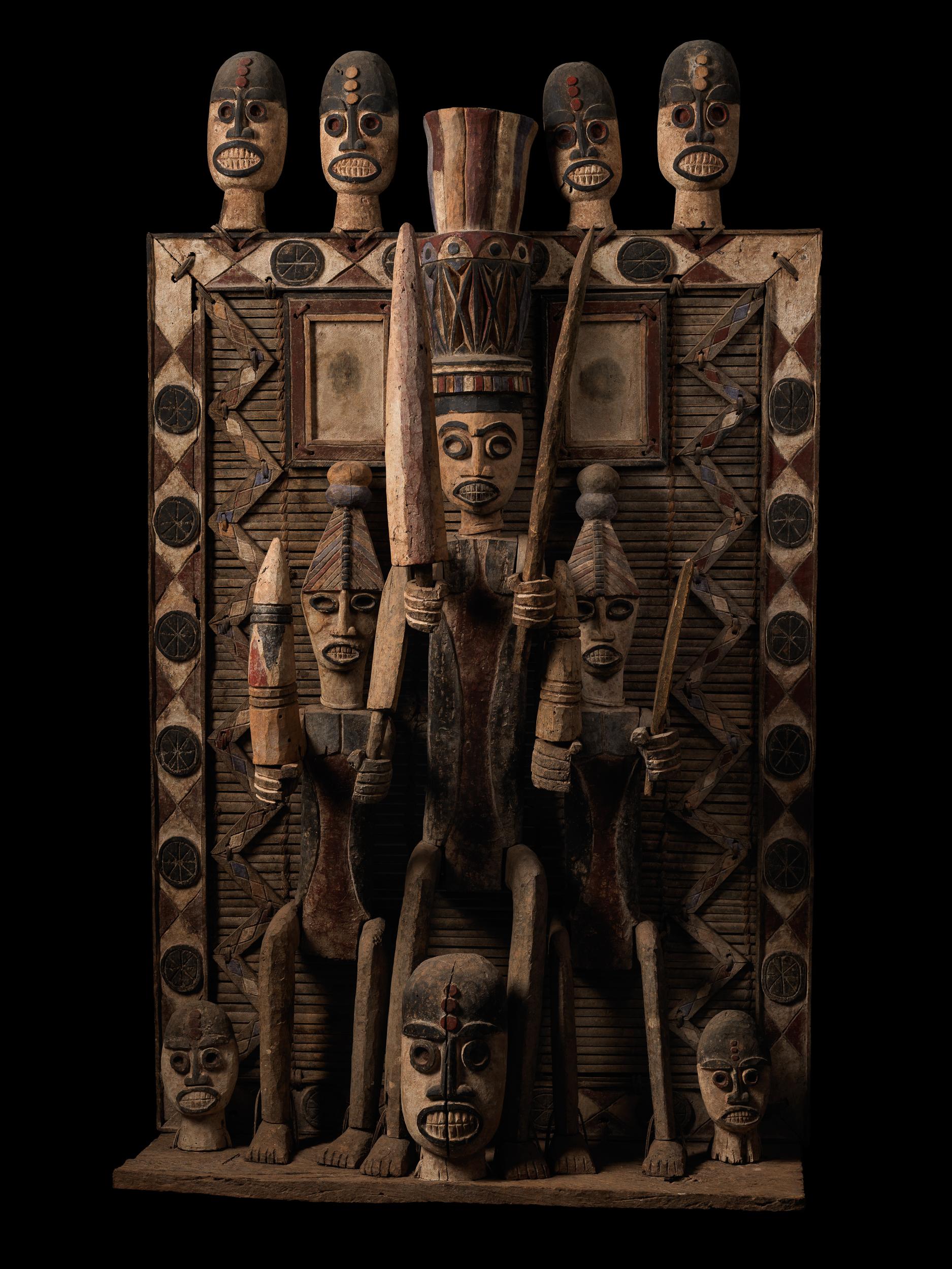 Shrine panel Nigeria, Kalabari group Ijo people, mid-20th century  Carved wood, rattan, raffia, natural polychrome pigments Ann Porteus, Sidewalk Tribal Gallery