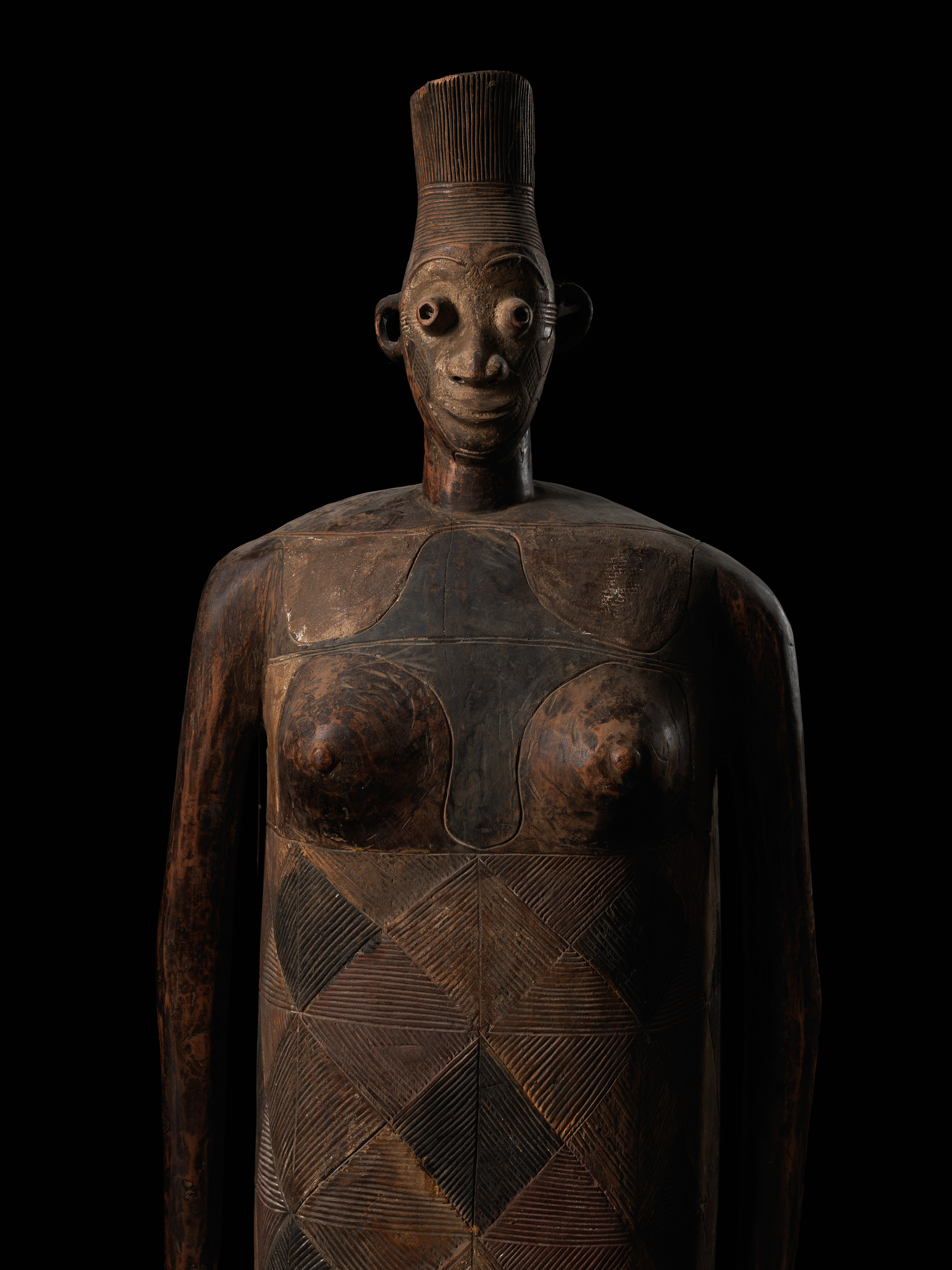 Anthropoid sarcophagi for a man and a woman North Eastern Democratic Republic of Congo, Mangbetu people, Eastern neighbours of the Ngata, 20th century  Carved and etched wood, natural polychrome pigments Ann Porteus, Sidewalk Gallery