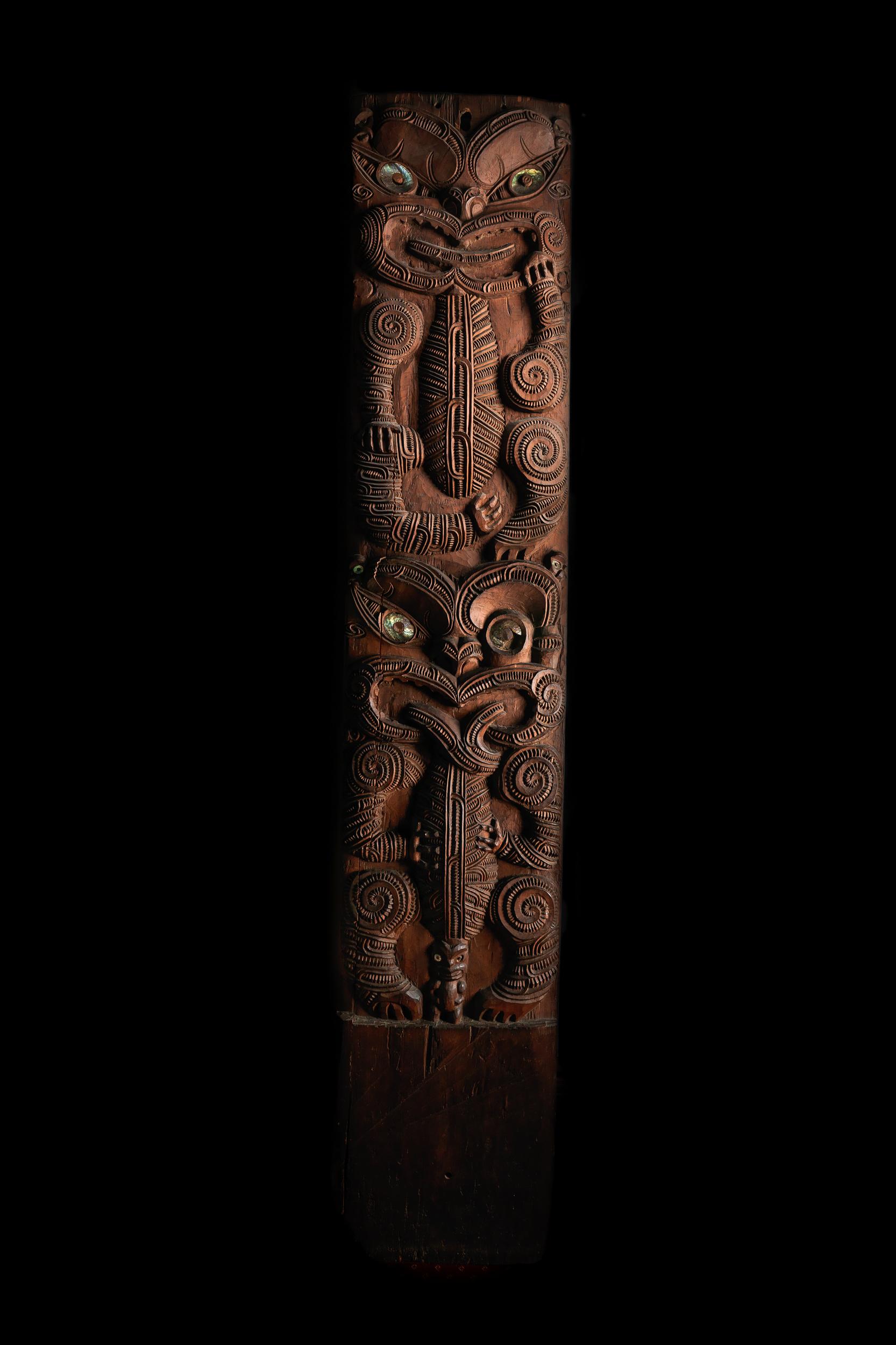Poupou—wall panel from a Māori wharenui (ancestral community meeting house) 'Heretaunga', Pākōwhai, Hawke's Bay, New Zealand, 1870s  Ngāti Porou craftsmen, commissioned by tribal leader Karaitiana Takamoana (Ngāti Kahungunu) Carved wood, paua shell South Australian Museum, Adelaide