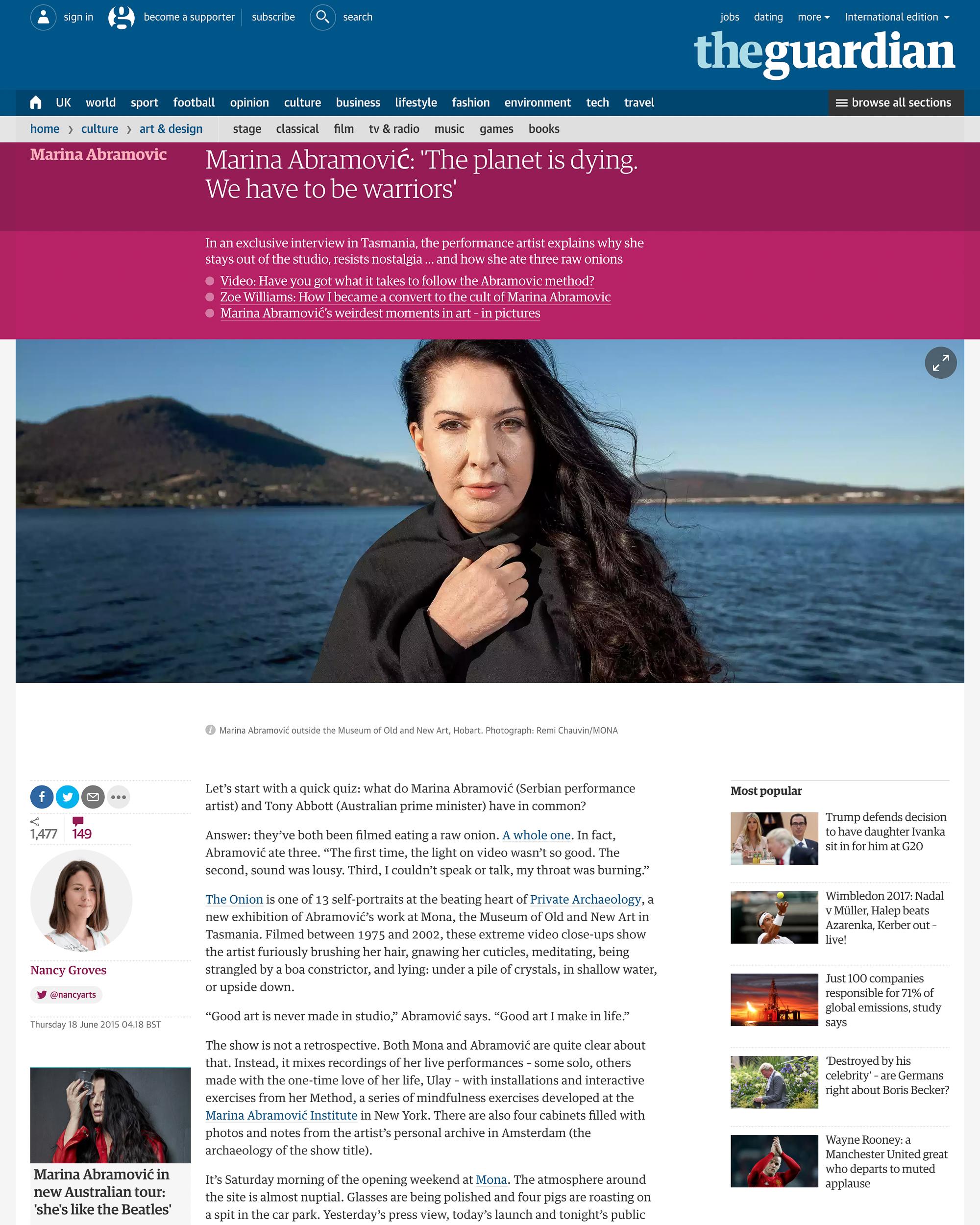 Marina Abramović - The Guardian