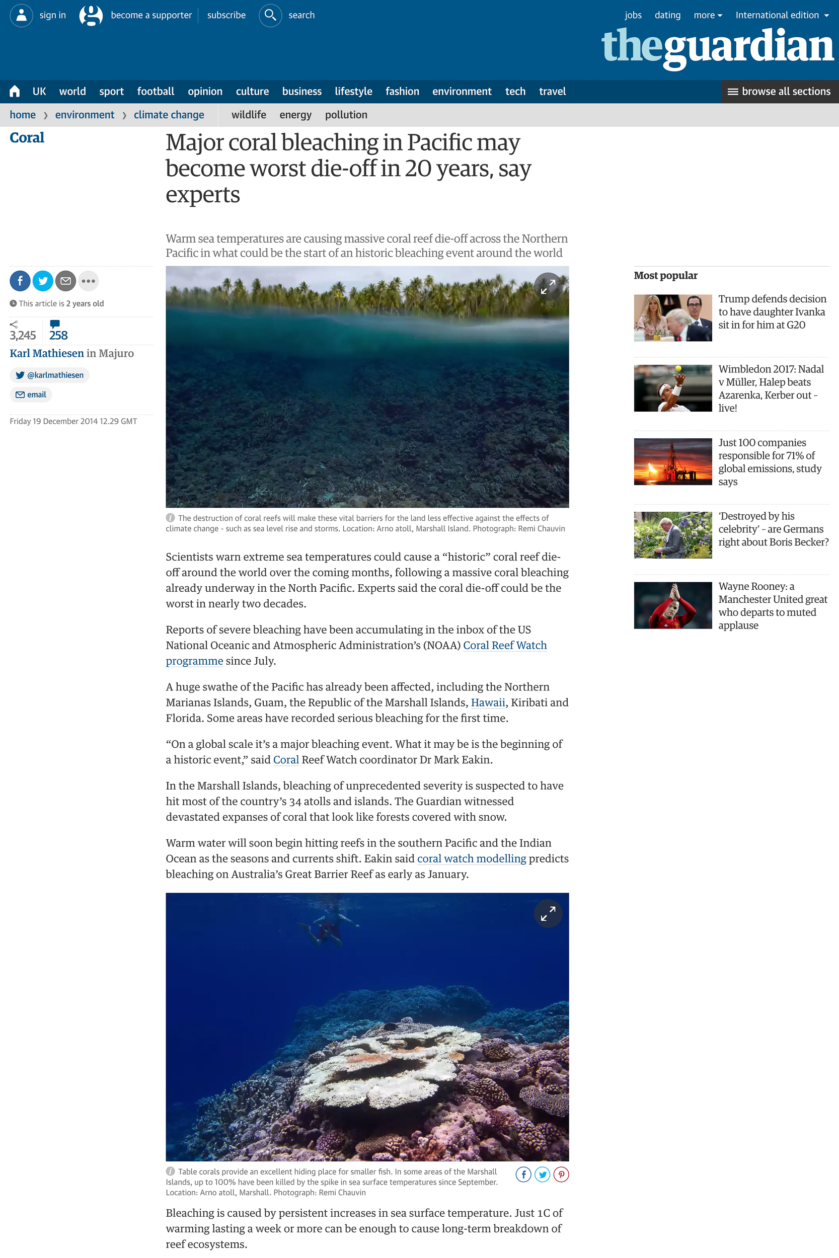 Pacific Coral Bleaching - The Guardian
