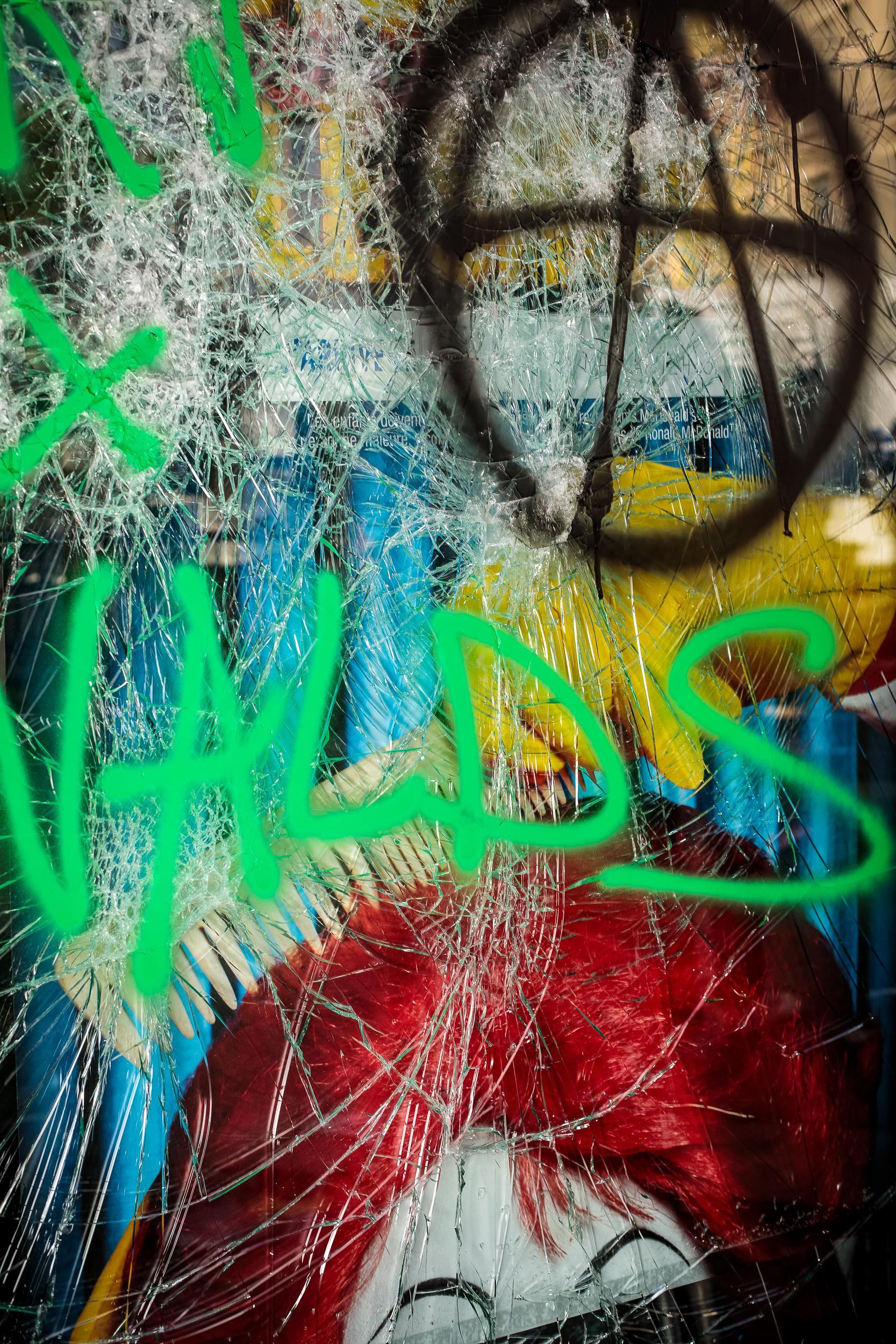 Shattered glass, spray paint & Ronald McDonald, 2018