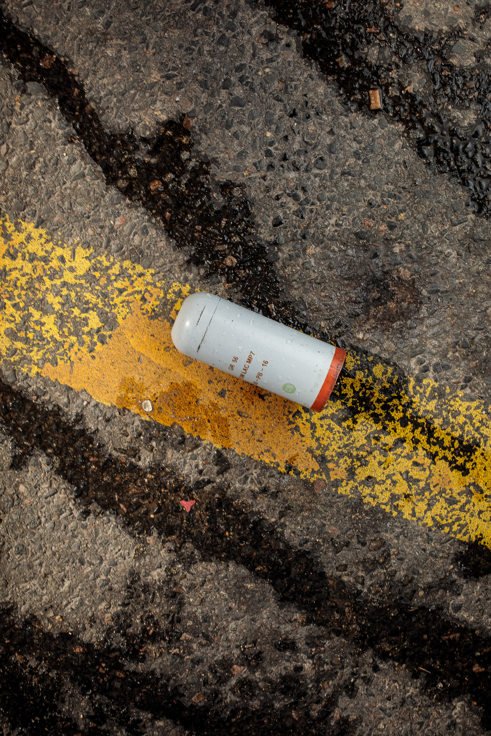 Tear gas canister and water cannon remnants, 2018
