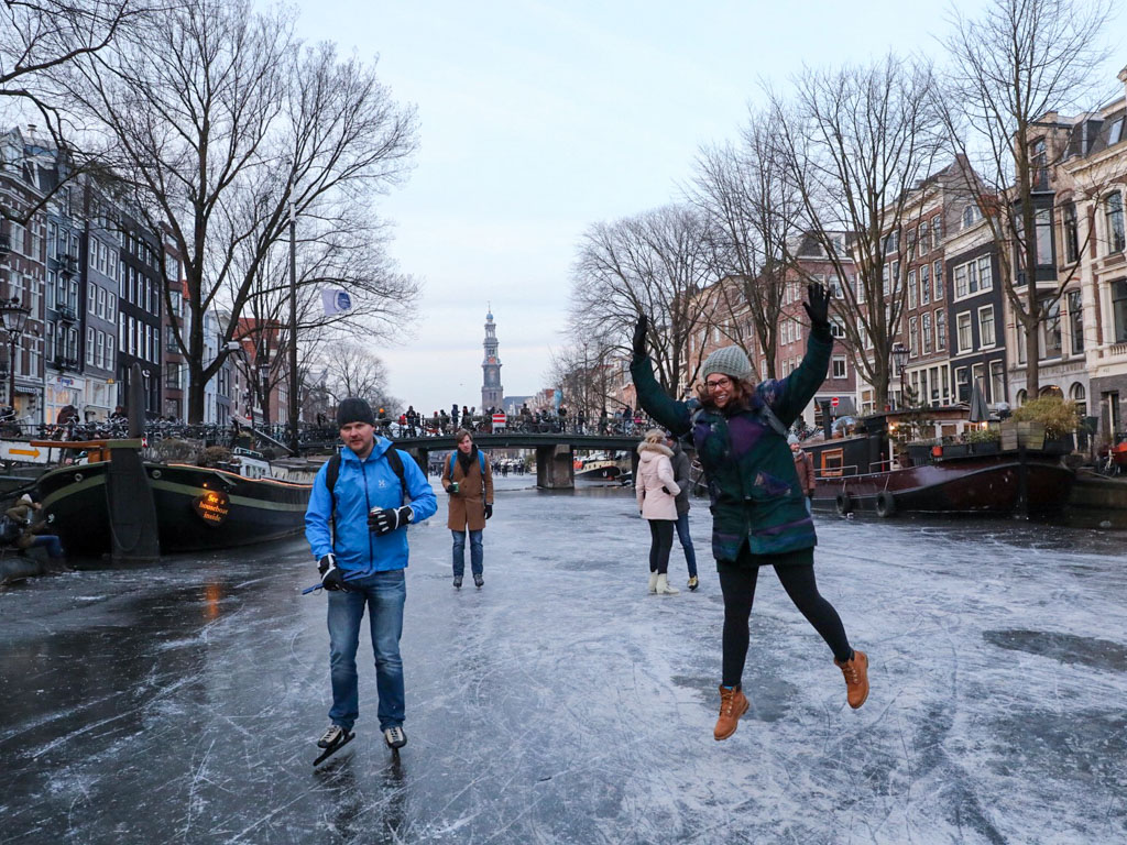 Wheeee! I can't believe I'm jumping for joy in the middle of a frozen canal!