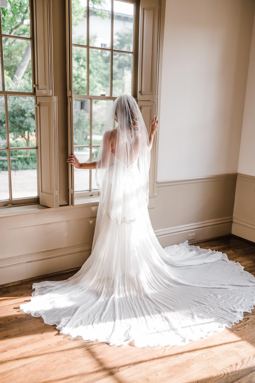 River oaks Garden club Bridal session, Bride looking out the vintage window, Houston Texas wedding photographer, Richmond, Texas, Sweet Nest Photography