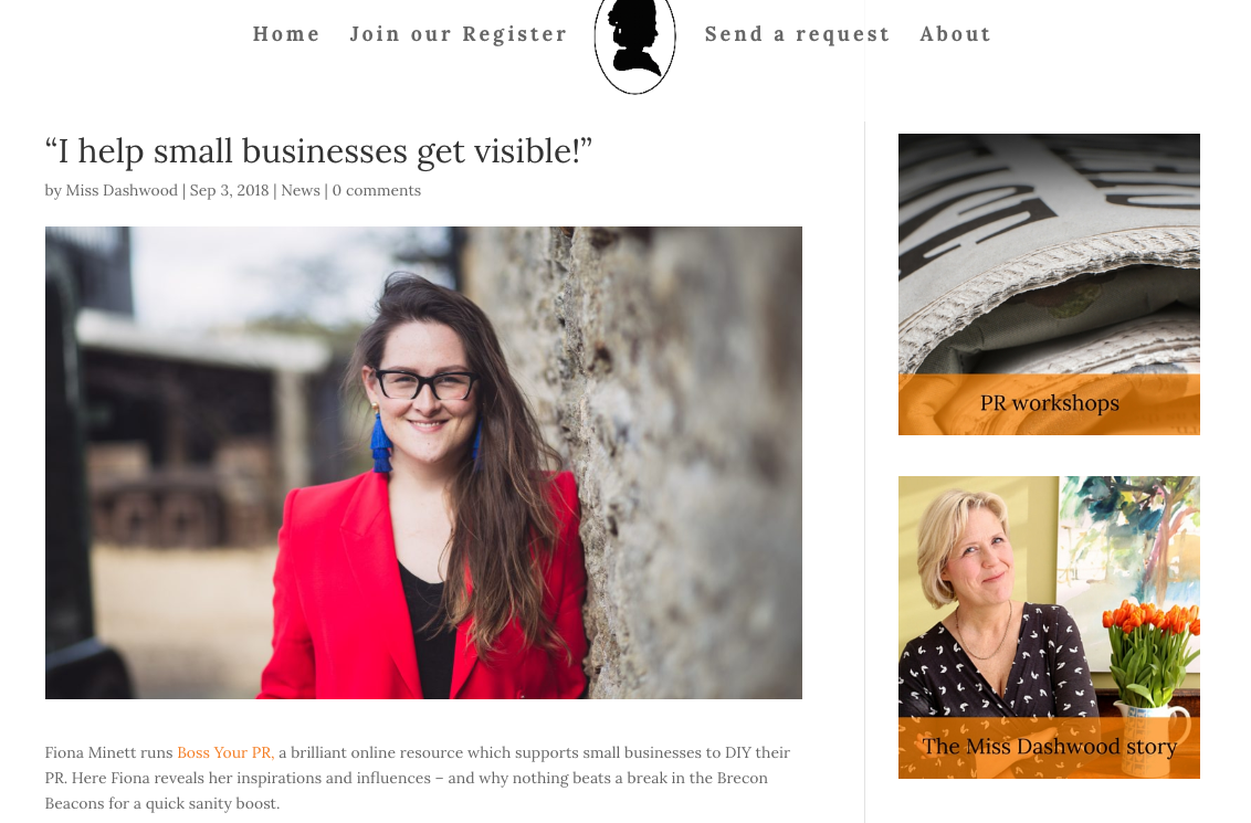Boss Your PR Interview with Miss Dashwood's Register