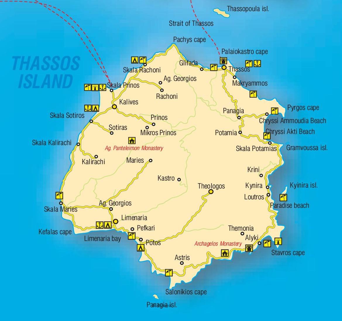 Пристанищата на Тасос са: Лименас (с тръгване от Керамоти) и Принос (с тръгване от Кавала).