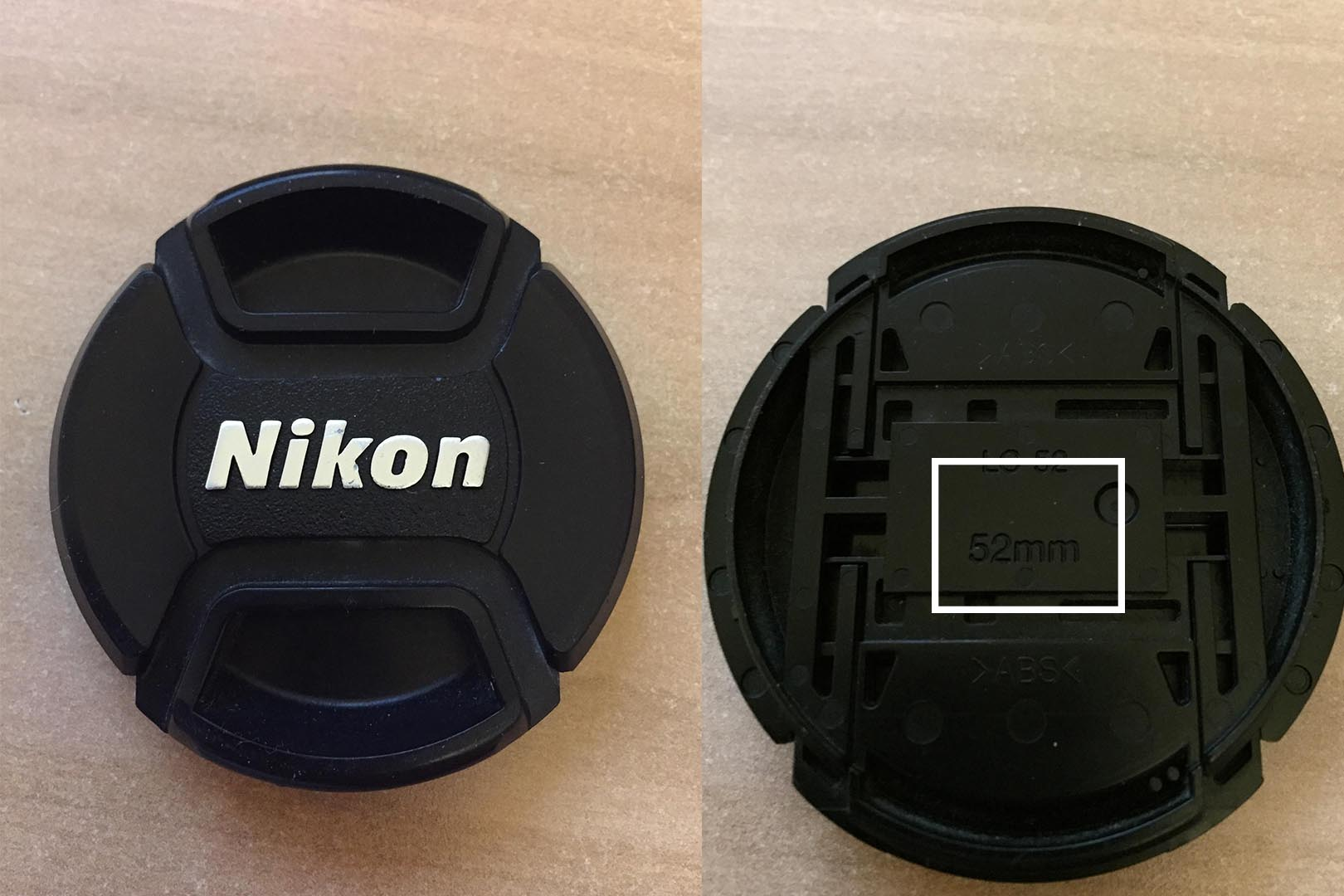 The back of your Lens Cap shows the diameter of your lens.