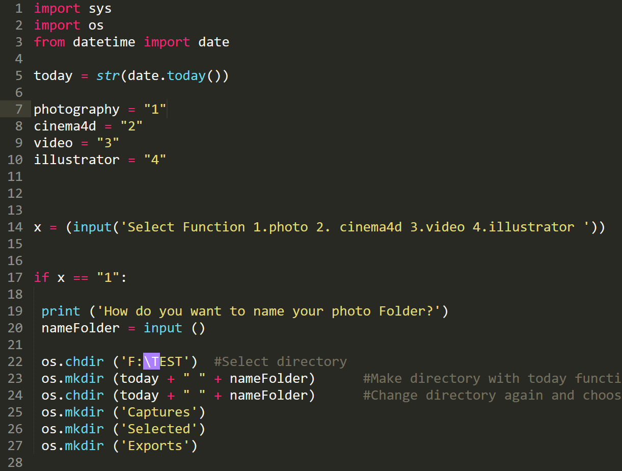 The script that you will need to make folders