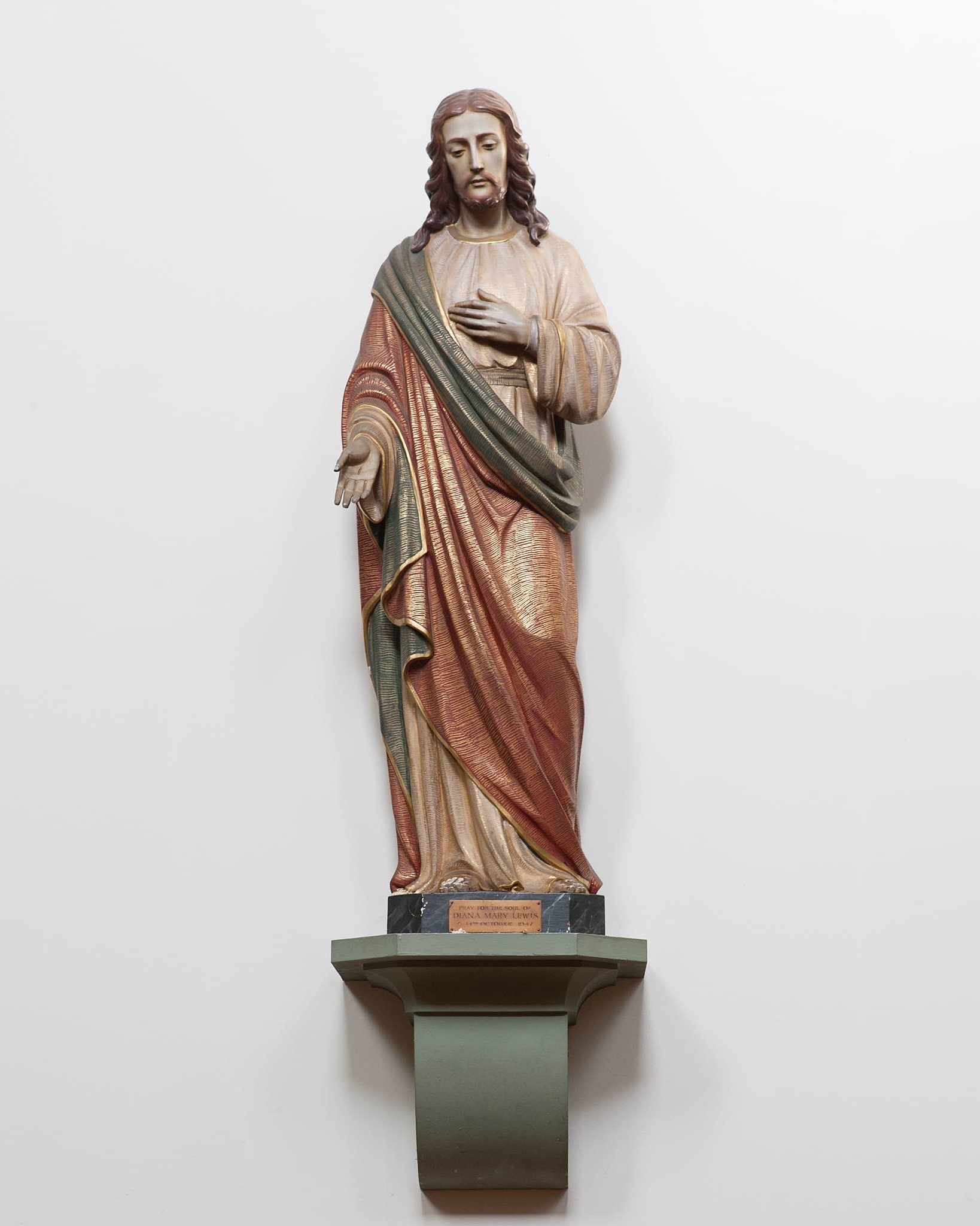 """The Sacred Heart - This is another of the statues given in memory of Diana Mary Lewis. Devotion to the Sacred Heart of Jesus is understood both as devotion to the physical heart pierced by the soldier's lance (Jn 19:34) and to the heart, """"pierced by our sins and for our salvation"""" (CCC 478), as symbol of Jesus's self-giving love for all humanity. The Solemnity of the Sacred Heart is celebrated on the Friday following the second Sunday after Pentecost."""