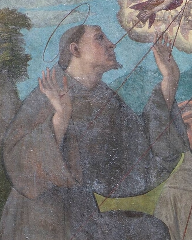 St. Francis of Assisi - This painting, attributed to the school of Correggio, depicts St. Francis receiving the stigmata, an event that took place during a vision on Mount Alverna in 1224.  Francis, the son of a wealthy merchant, was inspired by his love of the poor to renounce his inheritance, famously divesting himself even of his clothes in front of his father and the Bishop of Assisi.  Founder of the Franciscan Order, he is also known for his inauguration of the Christmas crib at Grecchio, and his composition of the Canticle of the Sun.  He was canonised in 1228 by Pope Gregory IX.  His feast day is October 4th.