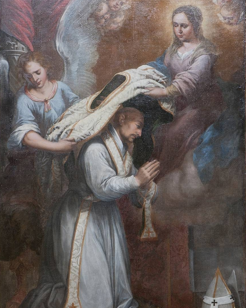 St. Ildephonsus - St. Ildephonsus, Archbishop of Toledo from 657-667, had a vision of Our Lady presenting him with a chasuble, and this painting, by an unknown artist, depicts that scene. The painting is thought to be a gift of the de Zulueta family.