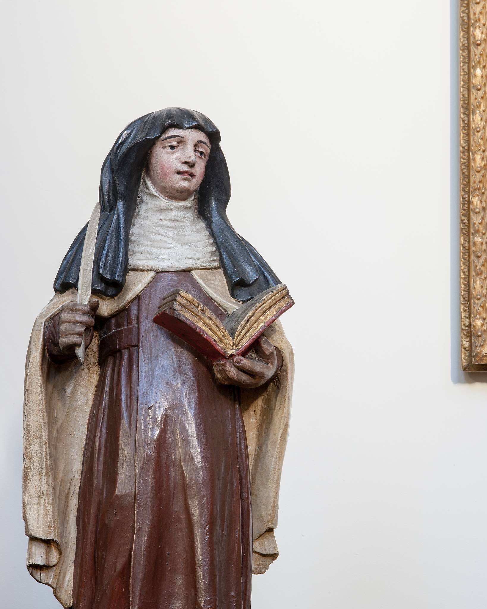 St. Teresa of Avila - Born at Avila in 1515, she entered the Carmelite order in 1535.During the course of a serious illness the following year, she developed the habit of mental prayer and underwent mystical experiences. She was responsible for reform of the Carmelite order, and her writings, particularly her distinctive contribution to mystical theology, led to her being named a Doctor of the Church by Pope Paul VI in 1970. She died in 1582 and her feast day is October 15th.
