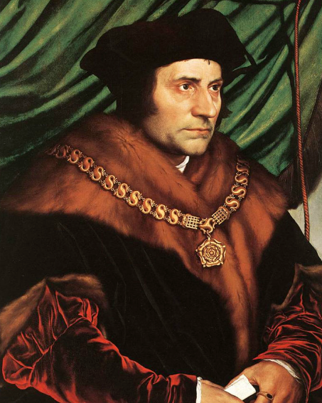St. Thomas More - This is a copy of the portrait by Holbein which hangs in the Frick Museum, New York.