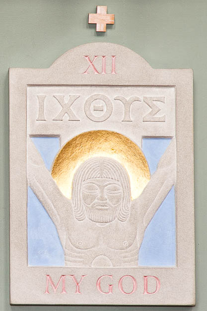 """XII - """"ICTHUS"""" The Greek word for fish was a symbolic code word. It meant """"fish"""", but the letters could be taken to have another, secret, meaning I – Jesus, C – Christos, TH – Theou ( of God), U – [h]Uios (Son), S – Soter (Saviour) Only a believer can look at the naked dead figure on the cross and say: """"My God"""", not as an exclamation, but as an acclamation. Here the murdered man gives the gift of life to those who have a heart to love him and those who, like him, carry the cross. To some the cross is a horror, to some a decoration, to others the key to life. Now the disciples are sent to share the secret, to free those in prisons of selfishness, fear, greed, lust, anger, and every sin that separates from God and neighbour."""