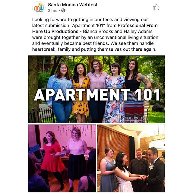Thanks for the shout out @smwebfest ❤️ We hope that you enjoy this show that is so near to our hearts! You can watch both seasons on the official show site- link in bio 🙌🏻 . . . #apartment101 #webseries #comedy #comedyseries #womeninfilm #femalefilmmakers #womeninfilmandtv #chicago #chicagocomedy #chicagofilm #indiefilm #supportindiefilm #festival #santamonicawebfest #professionalfromhereup