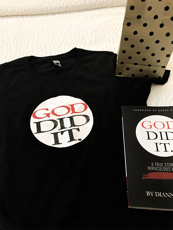 """Dianna Hobbs finds a special gift she calls """"amazing"""" waiting for her at her hotel room in Mobile, Alabama. It's a """"God Did It"""" t-shirt to match the cover of her recently released book of the same name. (Credit: Facebook)"""