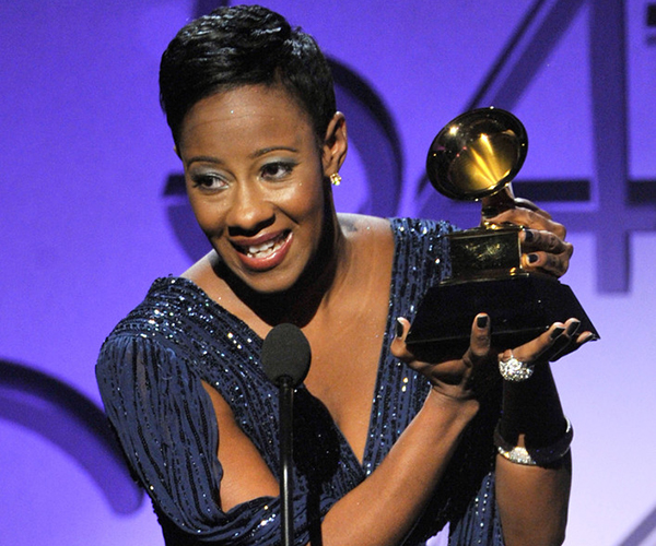 Le'Andria Johnson accepts an award for Best Gospel/Contemporary Christian Music Performance onstage at the 54th Annual GRAMMY Awards held at Staples Center on February 12, 2012 in Los Angeles, California (Credit: Kevin Winter/Getty)