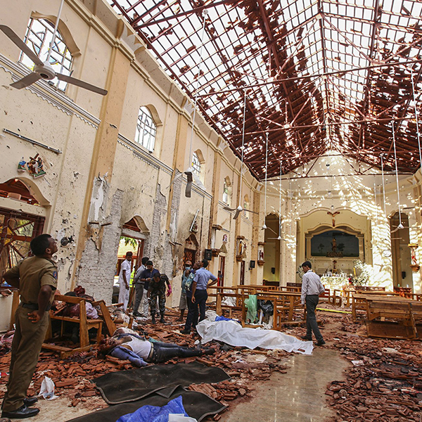 Dead bodies of victims lie inside St. Sebastian's Church damaged in blast in Negombo, north of Colombo, Sri Lanka, Sunday, April 21, 2019. (Credit: AP)