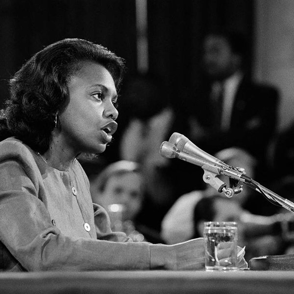 Anita Hill testifies during the Clarence Thomas harassment hearings in  Washington, Oct. 11, 1991. (New York Times file photo)