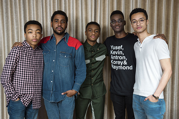 From left: Asante Blackk, Jharrel Jerome, Caleel Harris, Ethan Herisse, and Marquis Rodriguez at the Mandarin Oriental Hotel in New York to promote their Netflix series When They See Us on May 20, 2019. (Credit: Christopher Smith/The Associated Press)