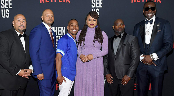 "(L-R) Raymond Santana Jr., Kevin Richardson, Korey Wise, Ava DuVernay, Antron Mccray, and Yusef Salaam attend the World Premiere of Netflix's ""When They See Us"" at the Apollo Theater on May 20, 2019 in New York City. (Credit: GETTY)"
