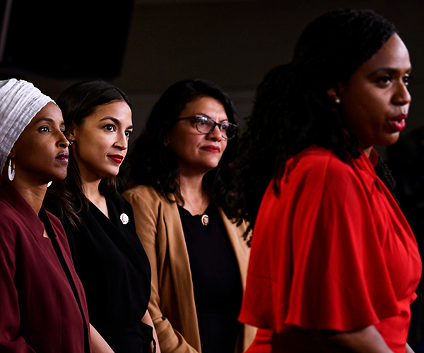 Photo:  Representatives Ilhan Omar, Alexandria Ocasio-Cortez, Rashida Tlaib, and Ayanna Pressley at a press conference on Monday. (Credit: Getty)