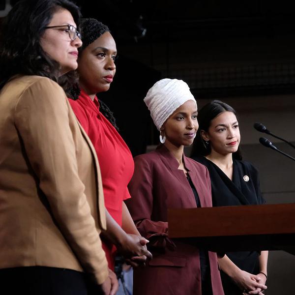 US Reps. Rashida Tlaib (D-MI), Ayanna Pressley (D-MA), Ilhan Omar (D-MN), and Alexandria Ocasio-Cortez (D-NY) Alex Wroblewski/Getty Images