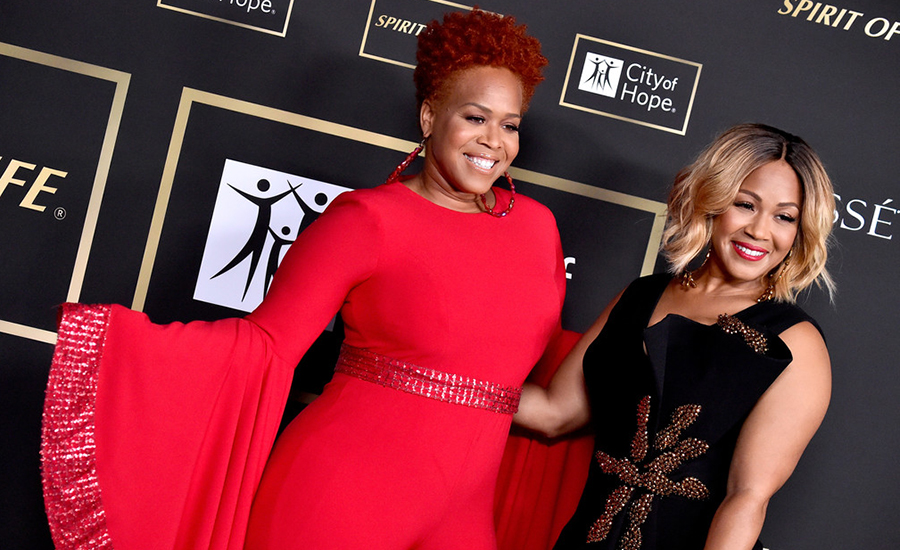 Tina and Erica Campbell of Mary Mary attend the City of Hope Spirit of Life Gala 2018 at Barker Hangar on in Santa Monica, California. (Photo Credit: Frazer Harrison/Getty)