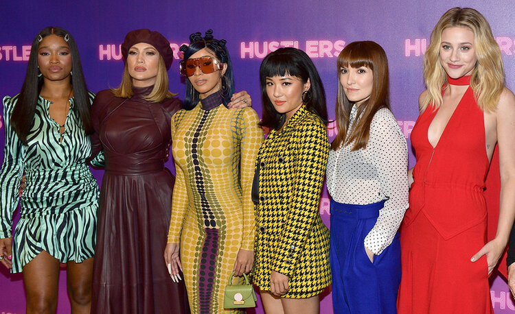 """""""Hustlers"""" movie cast — (L-R) (L-R) Keke Palmer, Cardi B, Jennifer Lopez, Constance Wu, and Lili Reinhart (Credit: Getty)"""