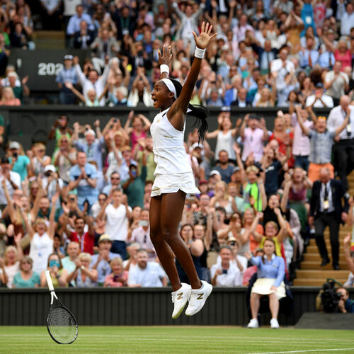 Coco Gauff celebrates match point in her Ladies' Singles third round match against Polona Hercog at Wimbledon 2019 (Photo Credit: Getty)
