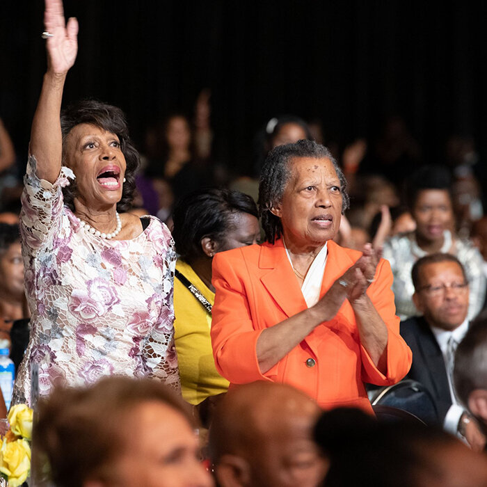 In attendance wearing a pastel floral print dress is U.S. Representative for California's 43rd congressional district since 2013, Maxine Waters, affectionately known as 'Auntie Maxine' (Credit: Congressional Black Caucus Foundation, Inc.)