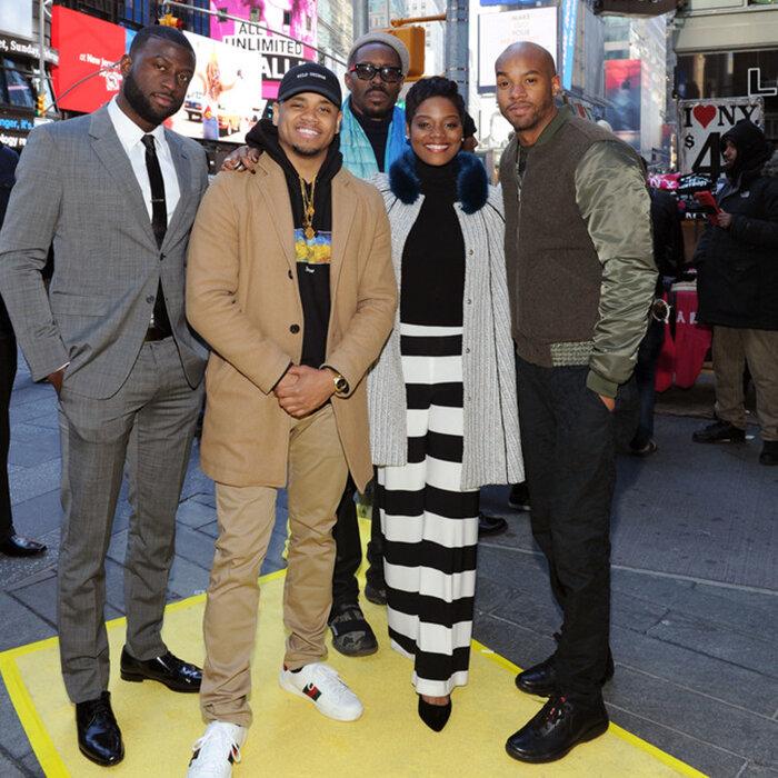 "Sinqua Walls, Wood Harris, Mack Wilds, Afton Williamson, Julie Menin, Antoine Harris and Chris Ponce attend the VH1 street renaming ""The Breaks Way"" in New York City. ( Credit: Craig Barritt/Getty)"