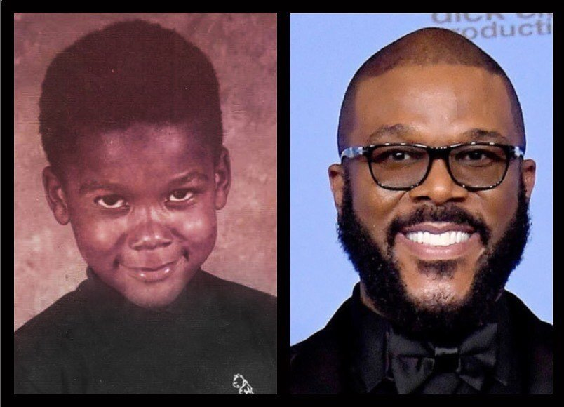 The movie producer posts a side-by-side image, revealing the 5-year-old Tyler (Credit: Tyler Perry Facebook)