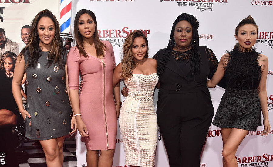 """The year Tamar was fired:  In 2016, TV personalities Tamera Mowry-Housley, Tamar Braxton, Adrienne Bailon, Loni Love and Jeannie Mai attended the premiere of """"Barbershop: The Next Cut"""" in Hollywood, California. (Credit: Alberto E. Rodriguez/Getty)"""