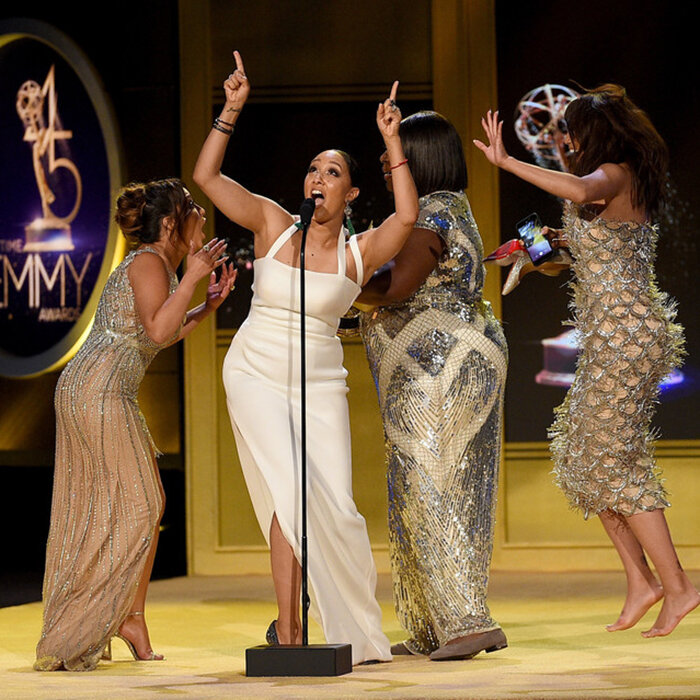 Tamera Mowry-Housley gives God glory as the women express shock over their Emmy Award win in 2018 (Credit: Kevork Djansezian/Getty)