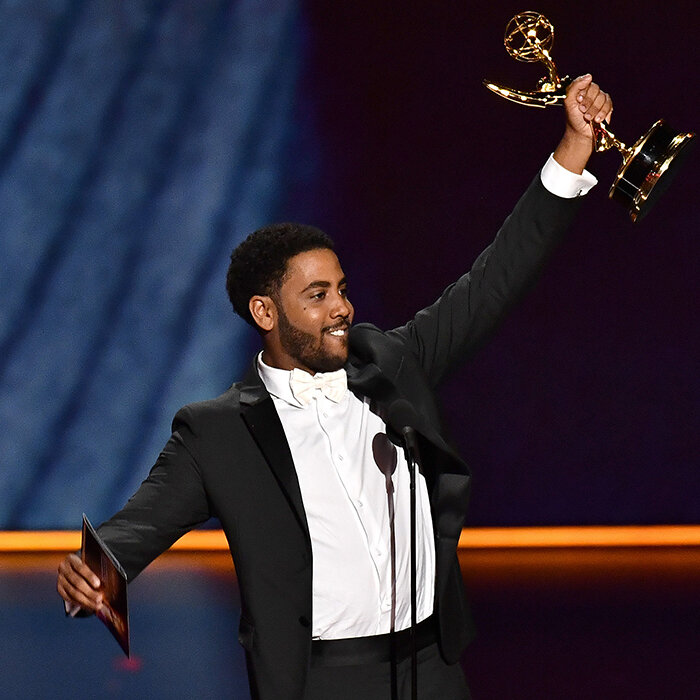 An excited and grateful Jharrel Jerome won for best lead actor in a limited series at the 2019 Emmy Awards ceremony (Credit: Getty)