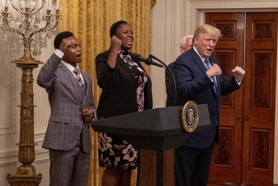 Trump at the Young Black Leadership Summit 2019 at the White House on Friday (Credit: Tasos Katopodis/UPI)