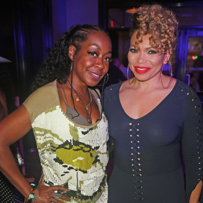Tichina Arnold and Tisha Campbell, former 'Martin' co-stars and real-life friends (Credit: Getty)