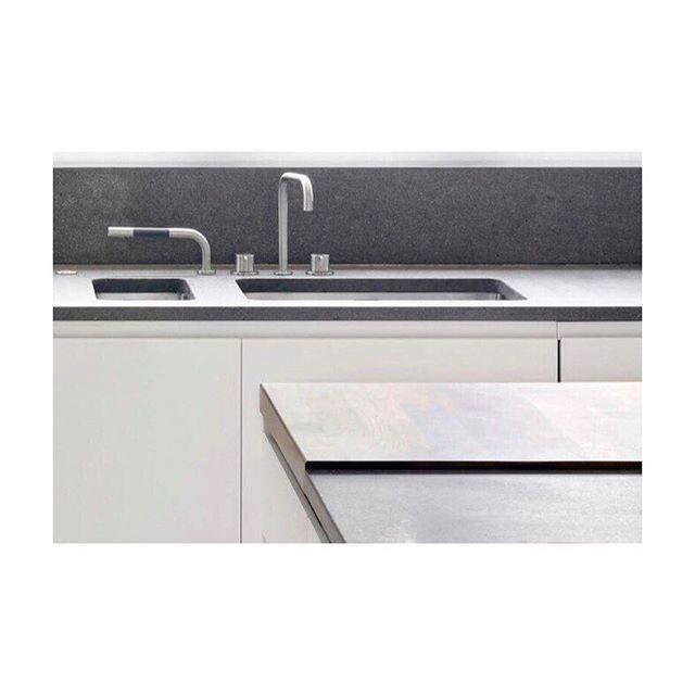 Kitchen details with a hardwood work surface and stone backsplash #kitchen #design #detailing #tap