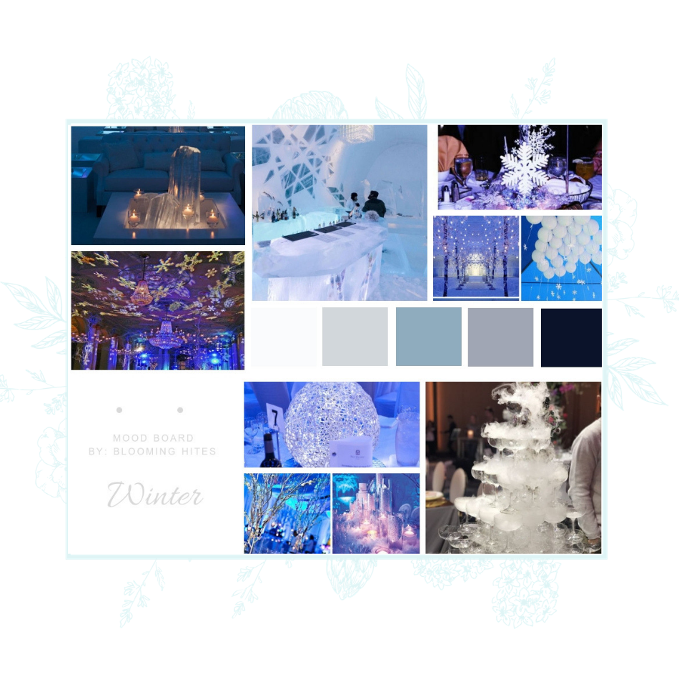 winter event theme design inspiration board
