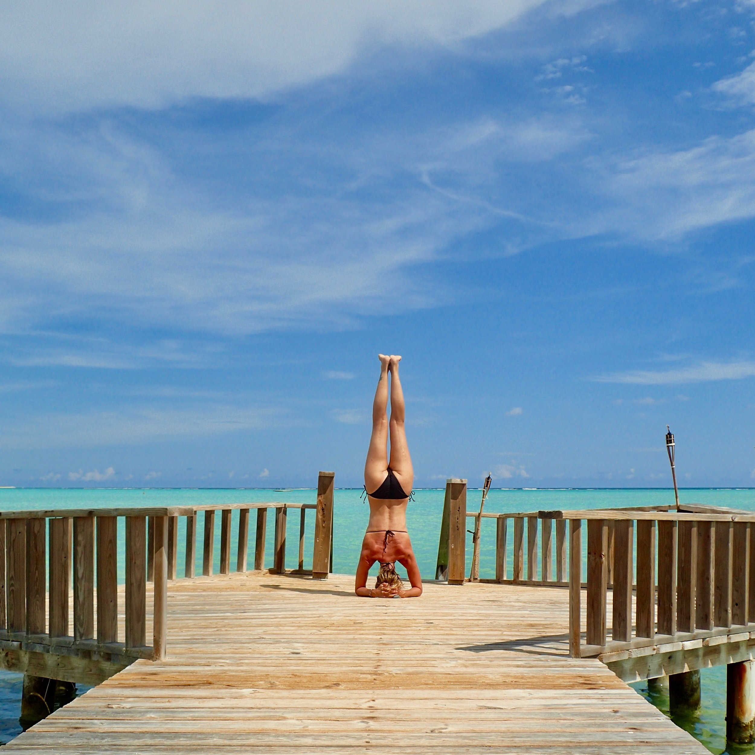 Sirsasana at beautiful Lac Bai on Bonaire