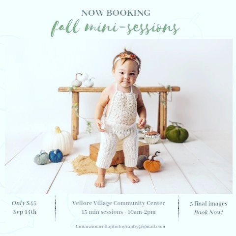 Now booking fall mini sessions!  Limited availability! 🍂 15 min sessions 🍂 5 final images 🍂$45  Saturday September 14 Vellore Village Community Center at 1 Villa Royal Ave, Vaughan.  DM to book today!!