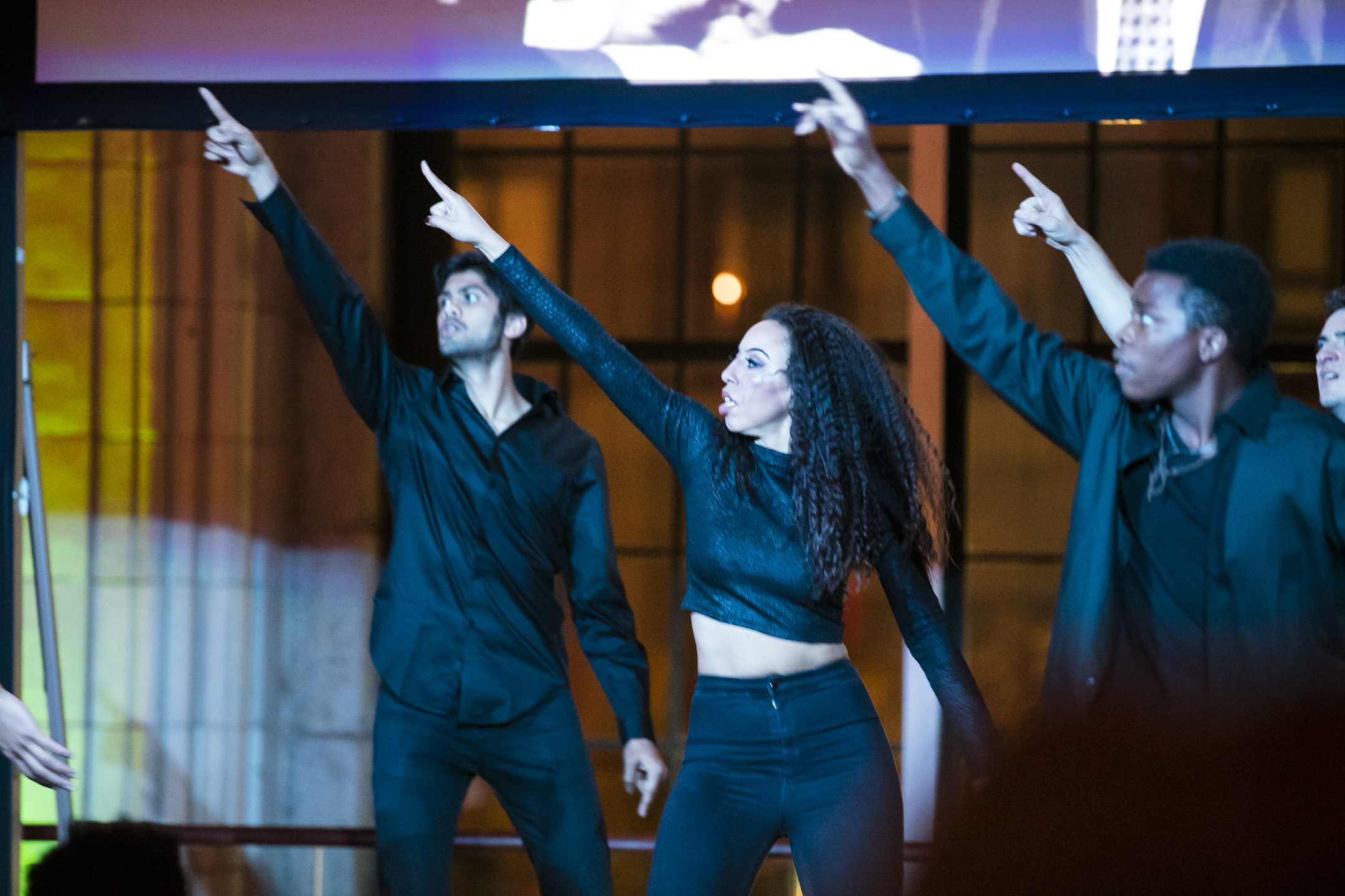 """Vikas Arun, Maud Arnold, and Jabu Graybeal in """"Glory"""" at the Root100 Annual Awards Dinner 2016"""