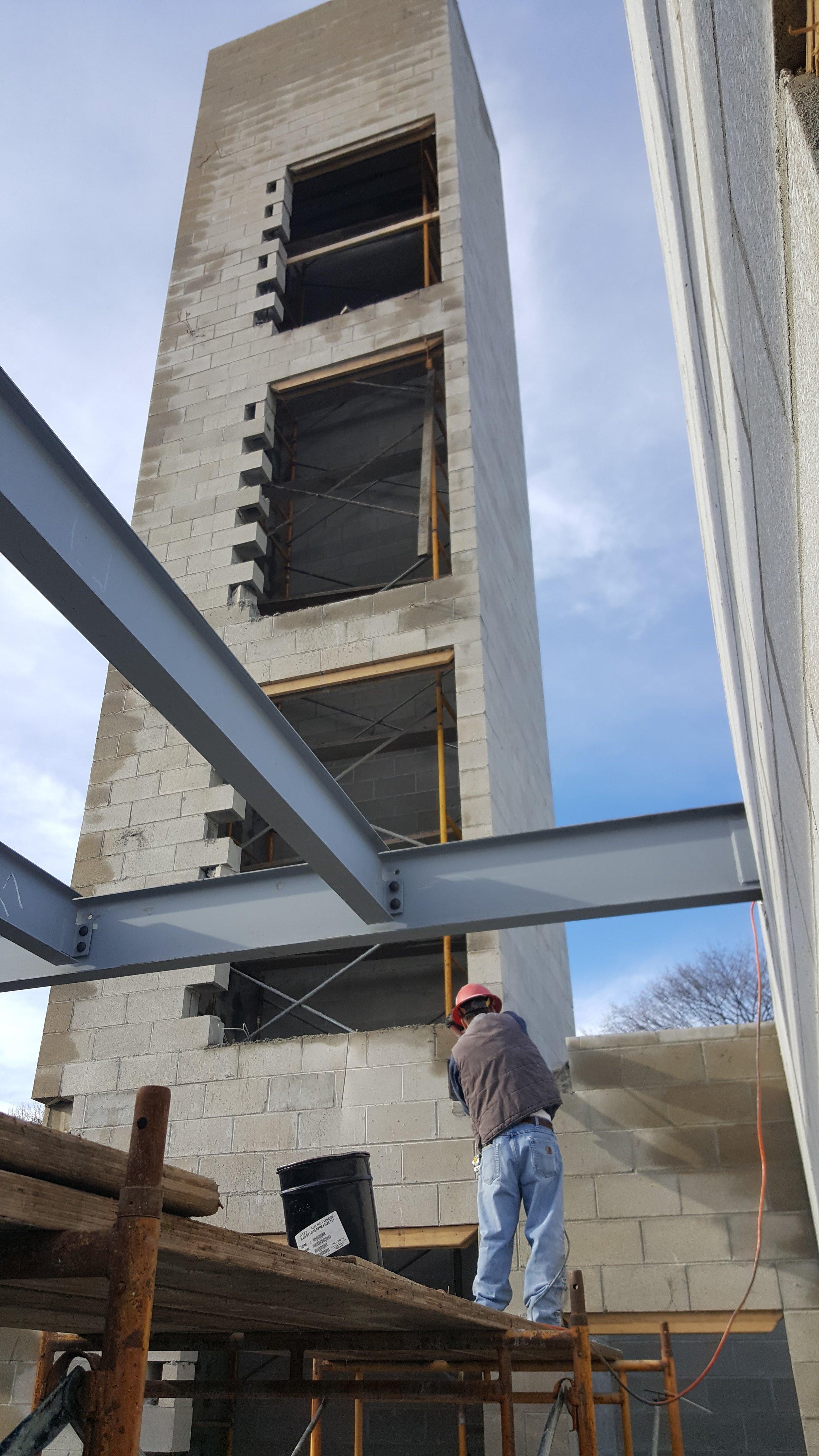 Elevator shaft and steel