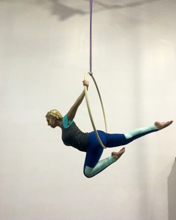 Meagan Gentry of Gentry Law Firm  Aerial hoop is a physical exercise that requires both strength and balance. I find both are important to not only keep my body in shape, but my mind as well. Learning balance keeps you focused. Building strength keeps you busy....